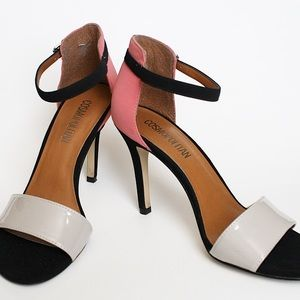 Shoes - Coral black cream peeptoe heels shoes strappy