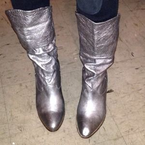 Shoes - Silver leather boots