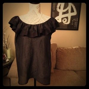 RED Valentino Black Textured Silk Blend Ruffle Top