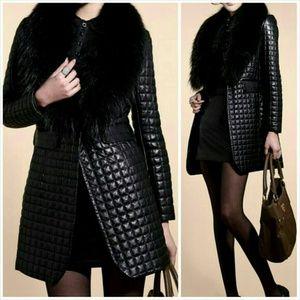 Jackets & Blazers - Faux Leather & Fur Coat