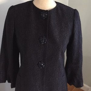 Elie Tahari navy brocade lady coat