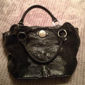 Leather and suede black handbag by Junior Drake