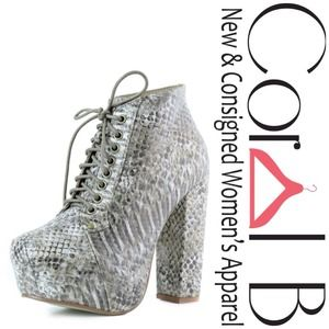 Shoes - Snakeskin Platform Booties
