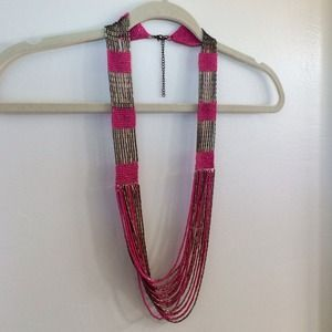 Beaded pink and bronze statement necklace