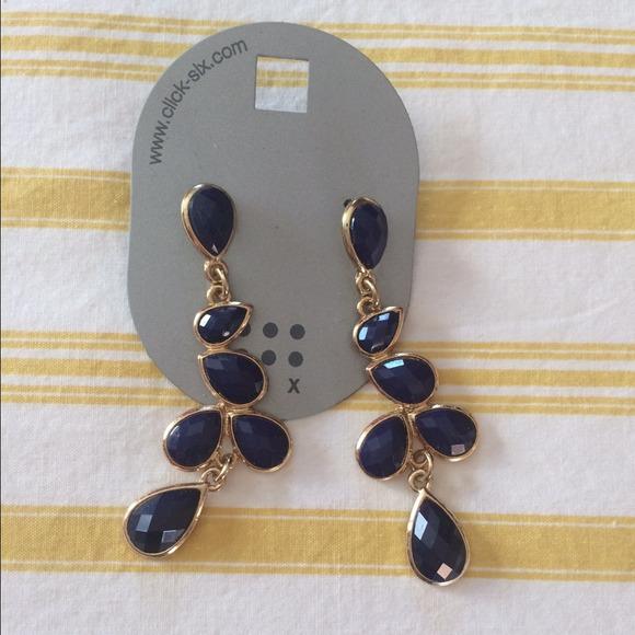 f59731b66 click-six Jewelry | Navy Blue Gold Pendant Earrings | Poshmark