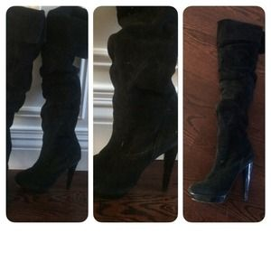 Steve Madden over the knee black suede boots