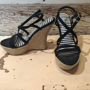 Strappy Black Espadrille Wedge