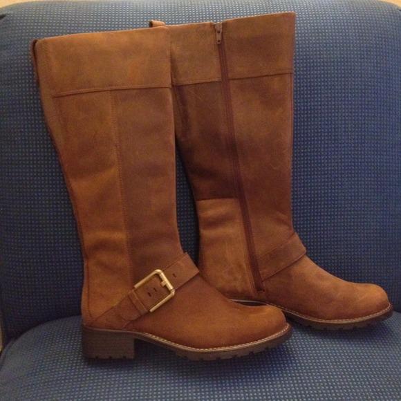 CLARKS LADIES ORINOCO Jazz Brown Snuff Leather Knee High