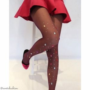 HP 12/19! New! Glamorous huge rhinestone tights
