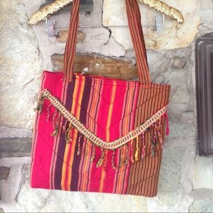 Handbags - Cranberry/ Mustard Striped Fringed Zip Tote Bag