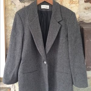 Jackets & Blazers - Vintage Wool One Button Grey Pea Coat