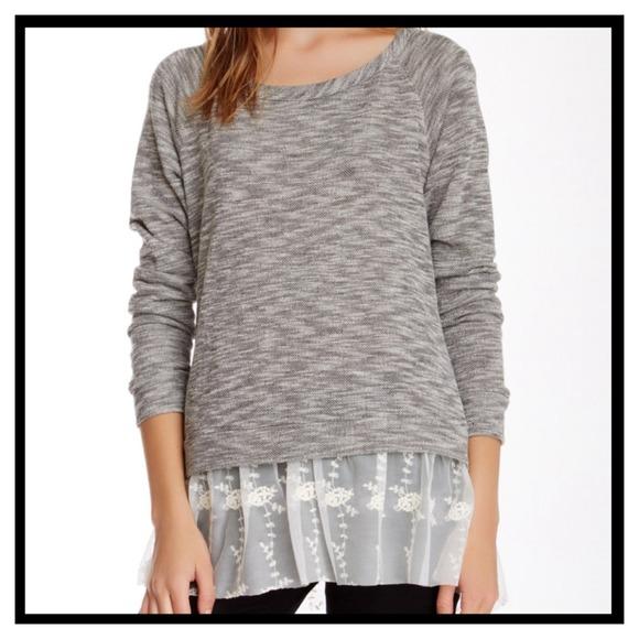 Tunic Sweater With Lace Hem 94660b57a