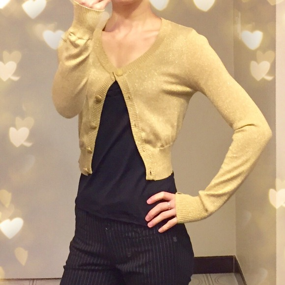 68% off Divided Sweaters - Gold cropped cardigan from Ping's ...
