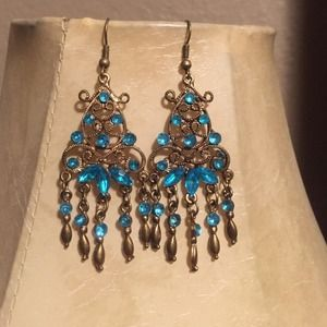 blue crystal chandelier earring