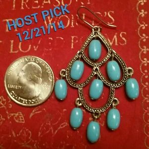 HOST PICK! Turquoise and gold cascade earrings