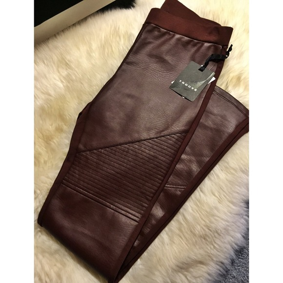 56 off trouve pants oxblood faux leather leggings from for Define faux leather