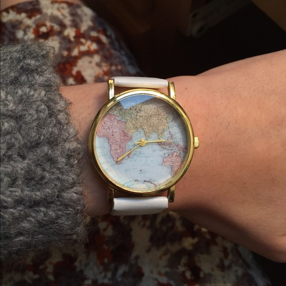 Accessories   White Leather Map Watch   Poshmark