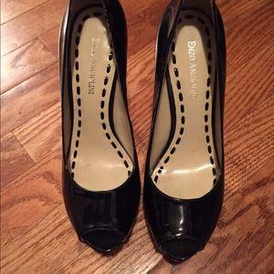 Patent peep toe stilettos
