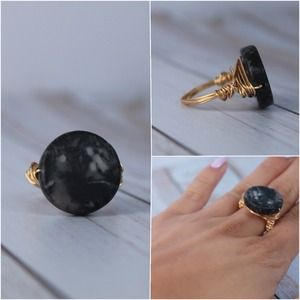 Gray and Black Marbled Stone Wrapped Ring