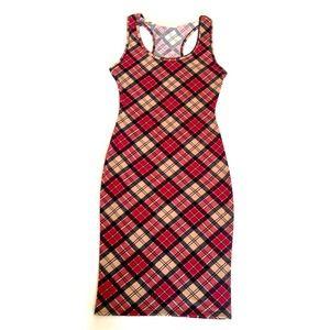 ‼️SALE‼️Pretty Maroon Plaid Midi Dress