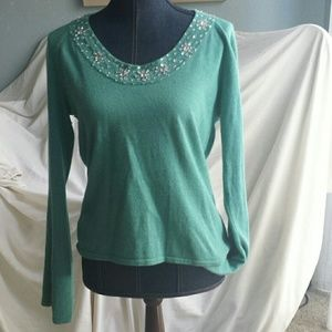 Crystal neck cashmere sweater