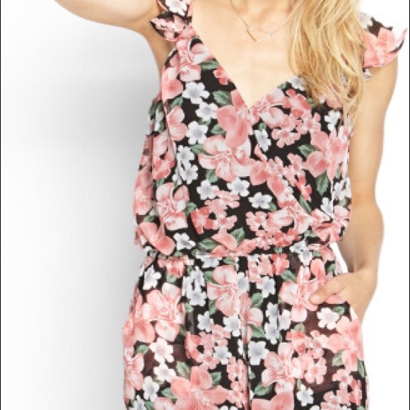 bff67c0b6d8 Pink Floral Surplice Romper