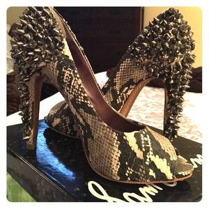 Sam Edelman Grey Python Metal/Rhinestone decor