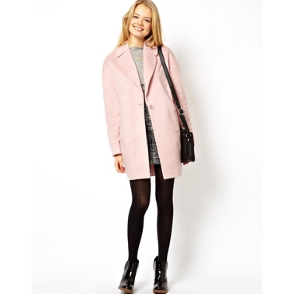 69% off ASOS Jackets &amp Blazers - ASOS Fluffy Cocoon Coat PINK US 6
