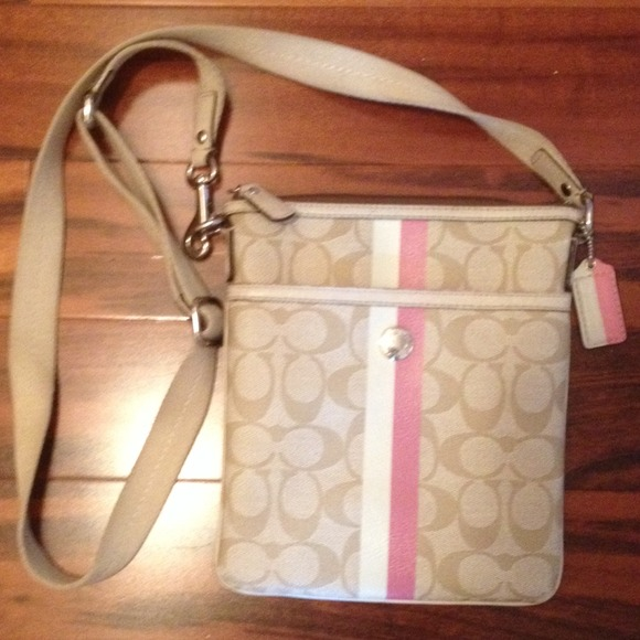 65% off Coach Handbags - Tan, pink, and white Coach cross body ...