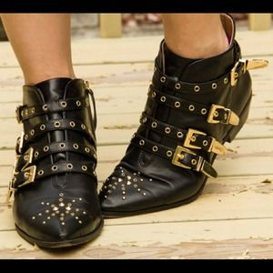 Zara Black Studded Ankle Boots With Gold Buckles