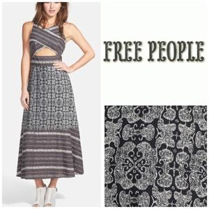 Free People Cutout Mixed Print Midi Dress