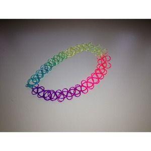 90s rainbow tattoo choker necklace