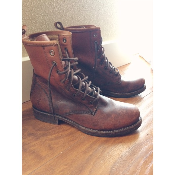 31% off Frye Boots - 🎉FRYE Veronica cognac stone leather combat ...