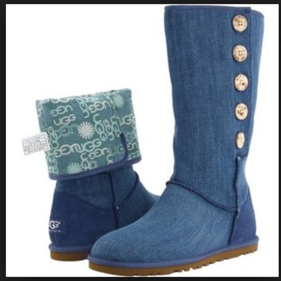 Ugg Australia Womens Lo Pro Denim Sheepskin Boots