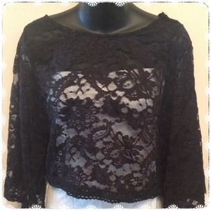 Lace Cropped Dolman Sleeve Top