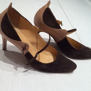 MaxMara brown leather and suede marry janes