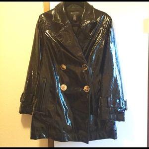 Black Patent Raincoat.