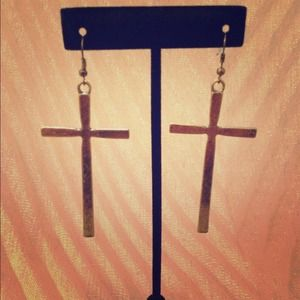 Antiqued gold tone cross earrings