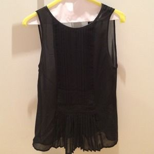 Zara black sheer top with faux leather details