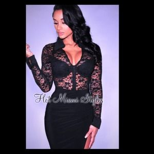 Tops - Black Sheer Lace Cuffs Long Sleeves Bodysuit