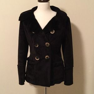 black faux shearling double breasted jacket