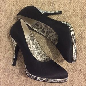 Shoes - Black Bordello Bling Pumps
