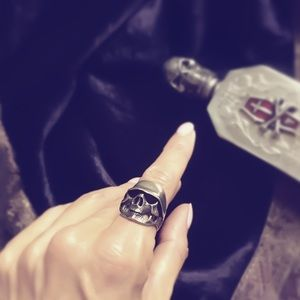 Custom Jewelry - Sterling Silver Biker Skull Ring 5