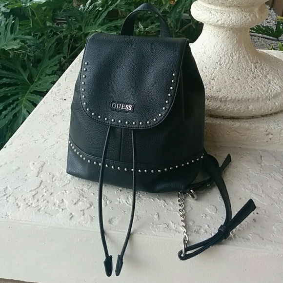 100% original Discover wholesale outlet Guess black leather backpack