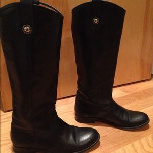 "Frye ""Melissa Button"" Black Leather riding boots"