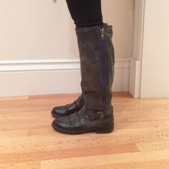 80% off Madden Girl Boots - Black Boots with Blue Zipper from ...