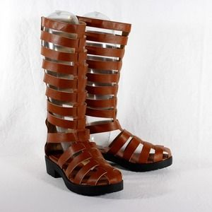 Gladiator Caged Knee High Platform Sandal Size 6.5