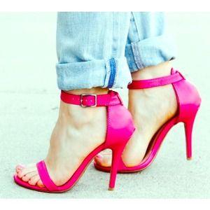 Pink ankle strap heels