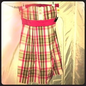 Pink plaid strapless dress with built in bra