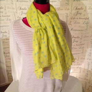 Yellow With Blue Polka Dot Scarf
